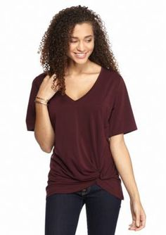 Suede  Solid Knot Front Tee