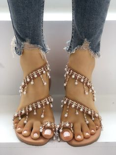 acc1be1e6bd082 Shiny Embellished Toe Post Flat Sandals · Cute Womens ShoesFlat ...