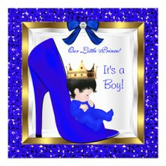 royal prince themed baby shower | Baby Shower Cute Boy Prince Royal Blue Crown Announcement from Zazzle ...