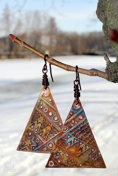 """""""Ornament"""" - etched copper earrings with heat patina"""
