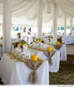 Burlap table runners.  So great over crisp white &  wonderful yellow.