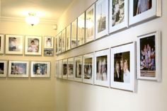 Clean gallery wall ~~ Silver frames / white mats