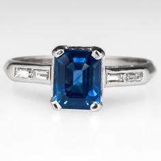 Emerald Cut Sapphire & Baguette Diamond Engagement Ring