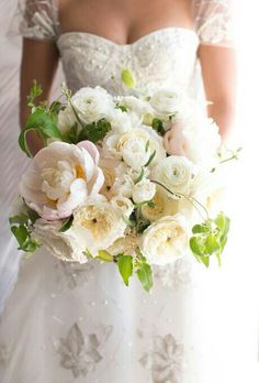 Large & Lush Bridal Bouquet With White Peonies (With A Hint Of Pink), White Fringed Tulips, White Ranunculus, Ivory Cabbage/Cottage Roses, White Astilbe & Fresh Green Foliage>>>>