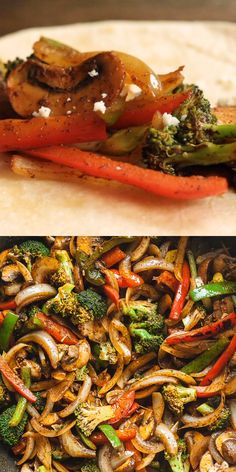 Vegetarian fajitas are so quick and easy to make! This is my go-to meatless dinner idea. Vegetarian fajitas are so quick and easy to make! This is my go-to meatless dinner idea. Vegetarian Recipes Videos, Veggie Recipes, Mexican Food Recipes, Cooking Recipes, Healthy Recipes, Cooking Tips, Keto Recipes, Vegetable Lasagna Recipes, Health Desserts