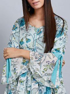 Buy White Blue Printed Cotton Flared Dress online at Theloom Simple Kurti Designs, New Kurti Designs, Kurta Designs Women, Kurti Designs Party Wear, Blouse Designs, Mehndi Designs, Latest Dress Design, Stylish Dress Designs, Pakistani Dresses Casual