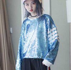Hip hop sequins sweatshirt for girls pullover sweatshirts stripe decoration