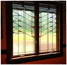"""Pompei Stained & Fused Glass on Instagram: """"Prairie style inspired inserts made to fit Andersen double casement windows."""" Stained Glass Art, Stained Glass Windows, Fused Glass, Double Casement Windows, Diy Bird Bath, Window Design, Antique Art, Bird Baths, Lloyd Wright"""