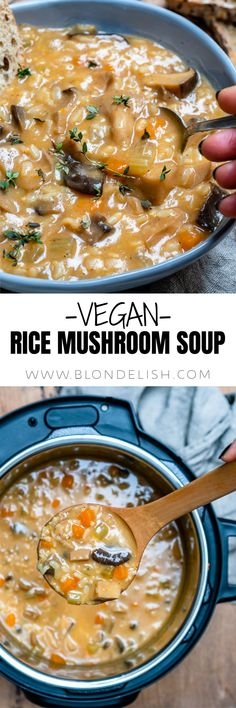 You can make this vegan rice mushroom soup in an Instant Pot or the classic way, on the stovetop. Either way, this recipe is super easy, hearty and so delicious.