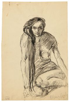 Mujer desnuda sentada de frente. Carboncillo. 1900. 48 x 36,1 cm. Artista: Ernst Barlach.