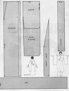 Kimono pattern provided by turtlemonkey Kimono Sewing Pattern, Pattern Drafting, Free Sewing, Knitting Patterns Free, Free Knitting, Kimono Geisha, Furisode Kimono, Japanese Sewing, Japanese Kimono