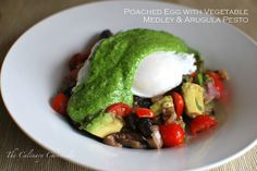 Breakfast for dinner! Poached Eggs with Vegetable Medley and Arugula Pesto by The Culinary Chronicles