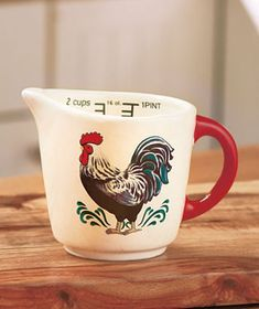 Country Rooster Measuring Cup Dolomite Farm Home Kitchen Chicken Decor NEW Rooster Kitchen Decor, Rooster Decor, Rooster Art, Kitchen On A Budget, New Kitchen, Kitchen Ideas, Kitchen Supplies, Kitchen Stuff, Kitchen Tools
