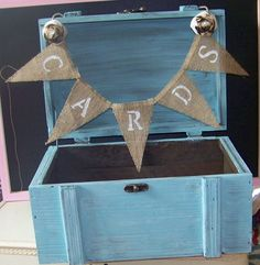 Rustic Wedding Card Box with Burlap Banner and Roses. $68.00, via Etsy.
