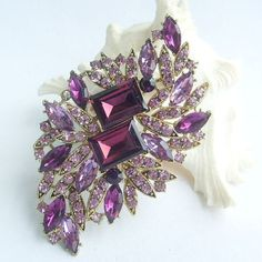 Elegant Purple Rhinestone Crystal Flower Brooch by VanessaJewel