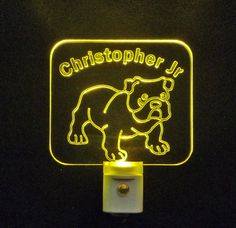 Kids Personalized Bulldog LED Night Light *Or Design your own Light - Unique LED Products