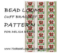 Bead Loom Cuff Bracelet Pattern Vol.39 - The August Poppy - PDF File PATTERN