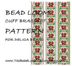 Bead Loom Cuff Bracelet Pattern Vol.39 - The August Poppy - PDF File PATTERN