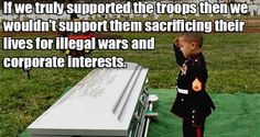 "A nation that continually publicizes appeals for the people to without question ""support the troops,"" is like asking its citizens not to think."