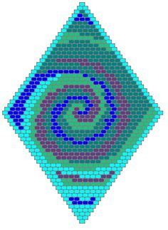 I live in Myrtle Beach, which sometimes gets hurricanes. I think the storms are very beautiful. the vortex shape was the inspiration for this brick stitch beading pattern. This diamond-shaped pattern makes an unforgettable pendant or it can be. Beaded Earrings Patterns, Bead Loom Patterns, Peyote Patterns, Seed Bead Earrings, Beading Patterns, Stitch Patterns, Mosaic Patterns, Bead Jewelry, Bracelet Patterns