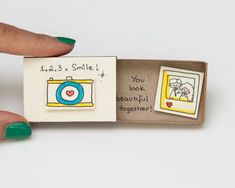 """Items similar to Cute Love Friendship Card Camera Matchbox / Gift box / Message box """"Your smile is beautiful"""" on Etsy Art Matchbox, Matchbox Crafts, Cute Cards, Diy Cards, Cute Gifts, Diy Gifts, Camera Cards, Box Camera, Diy Gift Box"""