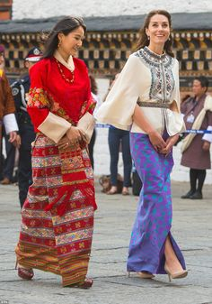 While Kate opted for a skirt, it's likely Queen Jetsun Pema was in fact wearing a dress, as the traditional clothing for women in Bhutan is a long, ankle-length gown, known as a Kira