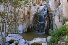 This 1/3-mile round trip hike visits a refreshing waterfall, cascade, and swimming hole off Ortega Highway in the Santa Ana Mountains.  Different hikes in riverside county