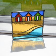 Beach huts stained glass panel