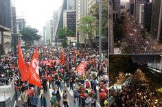 #FORATEMER: MILES DE BRASILEÑOS PROTESTARON HOY EN SAO PAULO Y RIO    Brasileños…