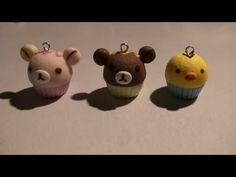 Kawaii and Cute Rilakkuma Bear  Animal Friends Cupcakes Video Tutorial for Fimo or Polymer Clay