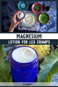 Naturally soothe leg cramps, growing pains, and restless legs with this DIY herb-infused magnesium lotion recipe. Naturally soothe leg cramps, growing pains, and restless legs with this DIY herb-infused magnesium lotion recipe. Natural Health Remedies, Herbal Remedies, Cough Remedies, Holistic Remedies, Natural Medicine, Herbal Medicine, Salve Recipes, Beeswax Recipes, Lotion Recipe