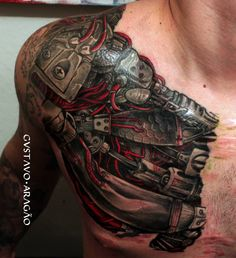 What does ripped skin tattoo mean? We have ripped skin tattoo ideas, designs, symbolism and we explain the meaning behind the tattoo. Cyborg Tattoo, Biomech Tattoo, Robot Tattoo, Backpiece Tattoo, Armor Tattoo, Chest Tattoo, Robotic Arm Tattoo, Tattoos Bras, Body Art Tattoos