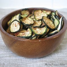 Anytime snack: Baked Organic Zucchini Chips -- really easy -- just slice, sprinkle with spices, and bake. Spray with olive oil for Phase 3, or skip the oil for Phase 1.