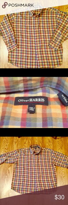 Oliver Harris Pumpkin Plaid Mens Dress Shirt Button Down Excellent Condition 100% Cotton Color Tan Plaid Red Orange Oliver Harris Shirts Casual Button Down Shirts