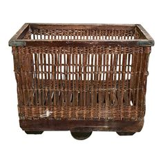 Antique Wicker Industrial Cart was used in laundry and fabric manufacturing operations, allowing batches of fabric to be easily moved about the workplace area. Ingenious axle & wheels below allow for mobility around turns as well as a straight line, with concentric springs keeping the wheels under control. Circa early 1900s Measures 29H x 35.5W x 24D Workplace, Wicker, Cart, Laundry, Wheels, Industrial, Stone, Antiques, Fabric