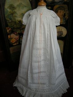 Antique Christening Gown Princess Line Ornate Lace Embroidered Apron Front VGC | eBay