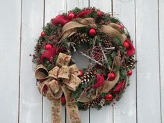 Christmas Wreath Burlap Wreath Front Door by KathysWreathShop