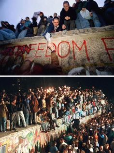 Saturday, Nov. 11, 1989: Berlin, Germany — Thousands of East & West Germans gathered on and around the Berlin Wall to celebrate immediately after the border crossing points that divided Berlin for 28 years were finally opened.