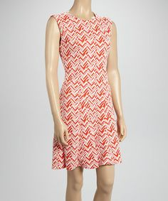Look what I found on #zulily! Coral Zigzag Sleeveless Dress #zulilyfinds (oh, but not in coral)