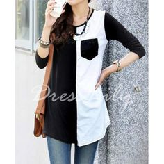 buy from http://www.dresslily.com/scoop-neck-color-block-3-4-sleeve-t-shirt-for-women-product737215.html