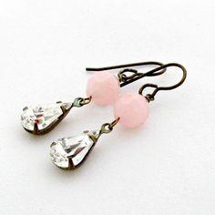 Vintage Rhinestone Earrings Pink Lucite by laurenblythedesigns, $22.00