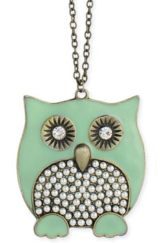 Owl Pendant Necklace In Mint And Pearl.