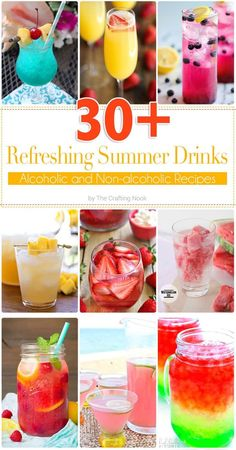 These delicious and Refreshing Summer Drinks will cool your beach and hot days in minutes!!! You will love them all either if you like alcoholic or non-alcoholic!!!