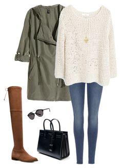 """""""🍂🍂🍂"""" by xofashionismylovexo ❤ liked on Polyvore featuring H&M, 7 For All Mankind, MANGO, Stuart Weitzman, Christian Dior, Yves Saint Laurent and Tiffany & Co."""