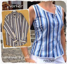 Upcycling Archive - ein Wurf - sewing and others - Upcycling Umgestaltete Shirts, Dad To Be Shirts, Diy Clothes Refashion, Shirt Refashion, Diy Kleidung, Dress Sewing Patterns, Sewing Clothes, Diy Fashion, Blouse Designs