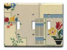 Triple Switch Plate 1930's Antique Wallpaper Deco by Fondue, $20.00