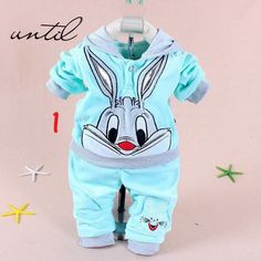Bunny Cartoon Hooded Sweatsuits Unisex Baby Girls Boys Sets 2 pc 3 Colors