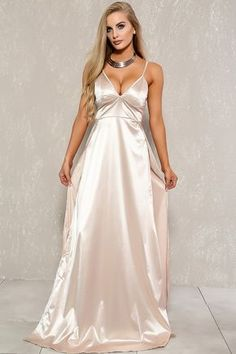 Sexy Beige Satin V-Cut Slit Sleeveless Formal Maxi Dress