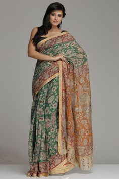 Green Chanderi Saree With All-Over Kalamkari Floral Jaal And Red Floral Vine & Gold Zari Border And Orange Pallu With Twin Peacock Motifs