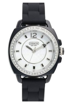 COACH 'Boyfriend' Crystal Bezel Watch available at #Nordstrom